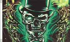 Skull with Top Hat Happy Halloween Celebration 5ft x3ft (150cm x 90cm) Flag