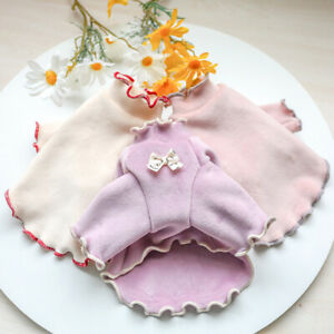 Warm Fleece Small Pet Dog Sweater Shirt Jacket Bow Lace Puppy Cat Coat Clothes