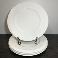 "Mikasa Ortley Dinner Plates Embossed Basketweave Edge White 10 3/4"" Set Of 4"