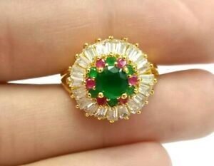 Turkish Green Agate, Crystal Size 7.75US Ring Gift for Women Gold Plated Jewelry