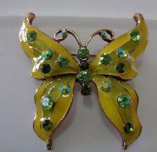 Green & gold enamel jewelled Butterfly brooch-Aussie seller Brand new