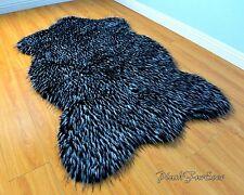 Sheepskin Black White Plush Faux Fur Area Rug Flokati Accents Rugs Sheep
