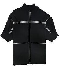 Alfani Womens Grid Poncho Sweater, Black, 1X