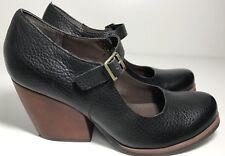 Womens Korks By Kork Ease Black Leather Block Heel Mary Jane Size Us 8 Uk 6 39