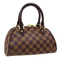 LOUIS VUITTON RIVERA MINI HAND BAG CA1002 PURSE DAMIER EBENE N41436 AUTH 40347