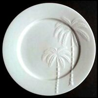 Oneida Palm Springs 4 Dinner Plates White Embossed Palm Trees 10.75 inch Retired