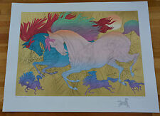"Azoulay ""Les Champions"" Serigraph on White Paper with Gold Leafing + REMARQUE!"