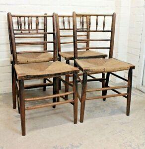 Set 4 Antique Arts & Crafts Morris & Co Sussex Chairs Farmhouse Kitchen Chairs