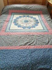 Vintage style blue pink floral double/king size patchwork throw bedspread