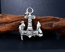 Raven and Wolf Odin Mjolnir Viking Stainless Steel Pendant Thor Hammer with