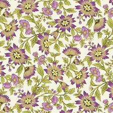 Benartex Ribbon Floral by Dover Hill Purple Plum Cream Green Fabric 743M-66