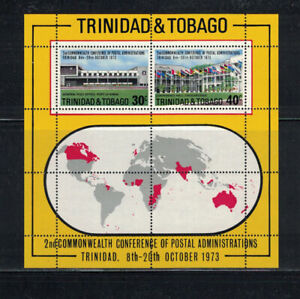 Br CW: Trinidad/Tobago 1973: #240a Postal Conference SS NH; Flags, Map:Lot#12/30