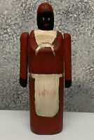 """Vintage Black Americana Folk Art Jointed Arms Solid wood Women Carving 9"""""""