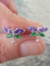 Amethyst And Emerald Marquise Cut Dragonfly Earrings 14kt Solid White Gold