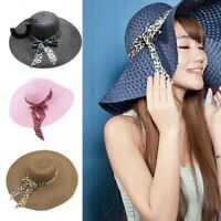 Women Girl Wide Brim Straw Beach Hat Summer Sun Floppy Folding Hat Protection