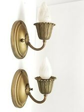 New ListingPair Antique Orginal Brass Wall Sconce Lamp Light Fixtures Turn of the Century