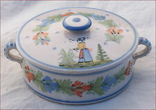 QUIMPER HR Trinket Candy Lidded Box French Faience Breton Late 19th C