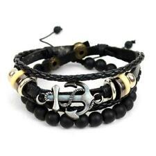 "Men's Bracelet Genuine Leather Natural Stone ""Anchor"" Two Piece Set"
