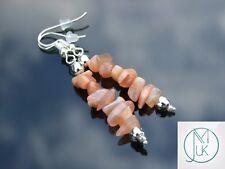 Peach Moonstone Natural Chip Gemstone Earrings Drop Quartz Crystal Chakra