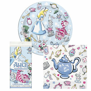 Alice In Wonderland Happy Birthday Dessert Party Pack and Table Cover - Serves 8