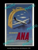 OLD LARGE HISTORIC PHOTO OF ANA AUSTRALIAN NATIONAL AIRWAYS AD POSTER c1950 2