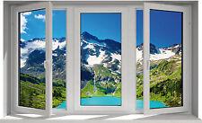 Sticker fenêtre montagne lac 130x80cm F30