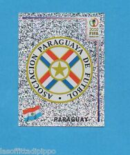 KOREA/JAPAN 2002-PANINI-Figurina n.134- SCUDETTO/BADGE -PARAGUAY-NEW BLACK BACK