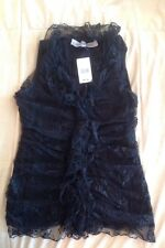 NWT Remain Black Top Blouse Lacy Ruffle Sleeveless Size L Style Ventura