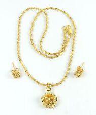 Women's 10 Carat Gold Filled Flower Necklace and Earrings set Jewellery
