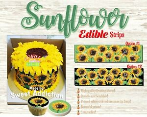 Sunflowers pattern Edible Cake Strips Sugar wrap toppers frosting paper around
