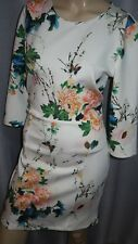 AJ OPUS London 12uk ivory multi floral Party wiggle bodycoin ¾ sleeve smart