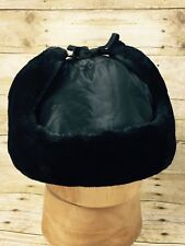 Men's Hat Faux Fur Aviator Bomber Trooper Trapper Winter With Ear Flaps Black