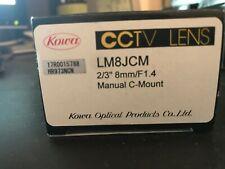 "KOWA CCTV LENS LM8JCM-V MANUAL C-MOUNT 2/3"" 8mm/F1.4 New in box"