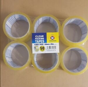 Packing tape 6 Rolls 48mm X 50m Clear Strong Tape for Parcels and Boxes