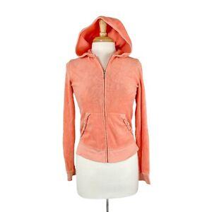 Juicy Couture Women's 90s 00s Orange Velour Full Zip Hoodie Sweater Size Large