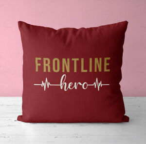Personalised Cushion Pillow & Insert - NHS Frontline Hero Text Pillow Cushion