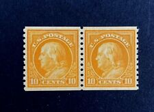 US Stamps, Scott #497 10c Perf 10 Vert coil pair 1922 Graded Cert XF/Superb 95