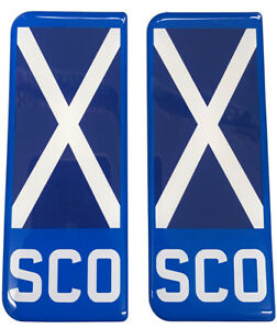 2x SCO Big Flag Blue Gel Domed Number Plate Decals