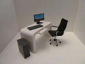 Dolls House Study Miniature 1:12th White Desk Black Office Chair w Computer Set