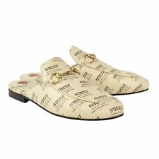 Gucci Ivory Leather Logo Stamp Print Princetown Mules Shoes Size 6/36