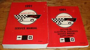 1991 Chevrolet Corvette Shop Service Manual + Wiring Diagram Supplement 91 Chevy