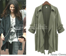 New Lightweight Waterfall Front Green Unlined Casual Trench Throw Loose Top 8/14