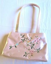 Pink GUESS Handbag Purse Bag with Embroidery Birds/Flowers