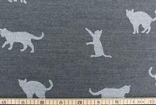 Dekostoff, Doubleface, Jacquard, B&B Fabrics, Albert, Katzen, Grau, 140cm