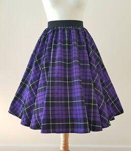1950s Circle Skirt Black Purple Tartan Check All Sizes - Rockabilly Plaid Punk