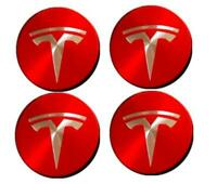 56mm Car Wheel Center Cap Rim Hubcaps Emblem Red+Silver for Tesla Model 3 S X