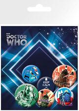 Button Badge 6er Pack DOCTOR WHO Retro - 2x 32mm & 4x 25mm Keep Calm, Dalek NEU