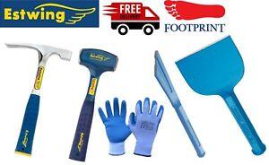 "Estwing/Footprint Club/Brick Hammer, 4""Bolster,Chisel &Gloves 5pc Bricklayer Set"