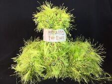 Moda Dea Fur Ever Yarn Lot 4 Skeins - LIMEADE - 50g Fancy Eyelash