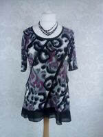 M&S Per Una Size 14 Black Pink Multi Print Top Sheer Detail Loose fit Immaculate